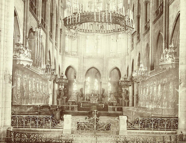 Notre Dame Drawing - Interior Of Notre Dame In Paris, France, Anonymous by Artokoloro
