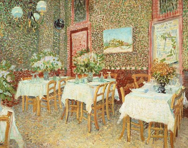Tablecloth Painting - Interior Of Restaurant by Vincent van Gogh