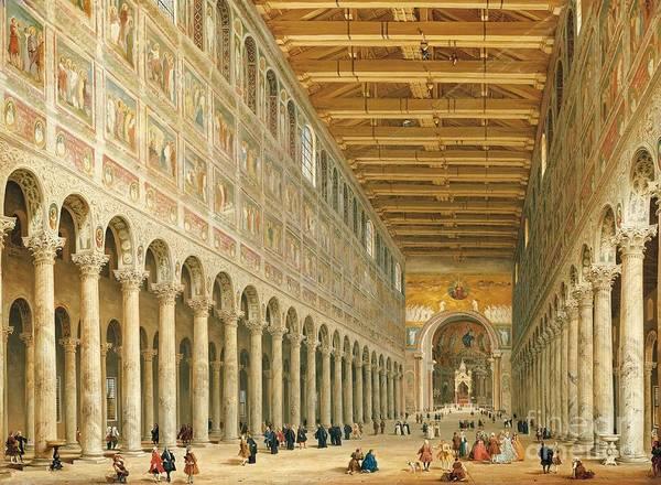 Portico Painting - Interior Of San Paolo Fuori Le Mura by Giovanni Paolo Panini