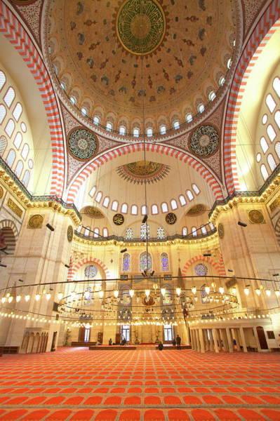 Suleymaniye Mosque Photograph - Interior Of Suleymaniye Mosque, Unesco by Neil Farrin / Robertharding