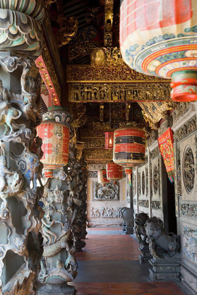 Chinese Lantern Wall Art - Photograph - Interior Of Temple And Chinese by Peter Adams