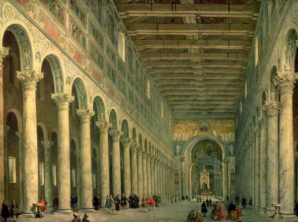 Portico Painting - Interior Of The Church Of San Paolo Fuori Le Mura by Giovanni Paolo Panini