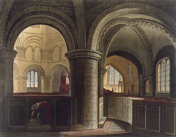 Pier Drawing - Interior Of The Church Of The Holy by Augustus Charles Pugin