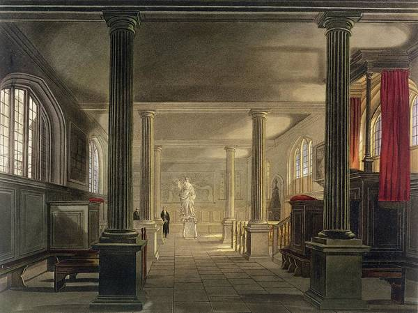 Columns Drawing - Interior Of The Law School, Cambridge by Frederick Mackenzie