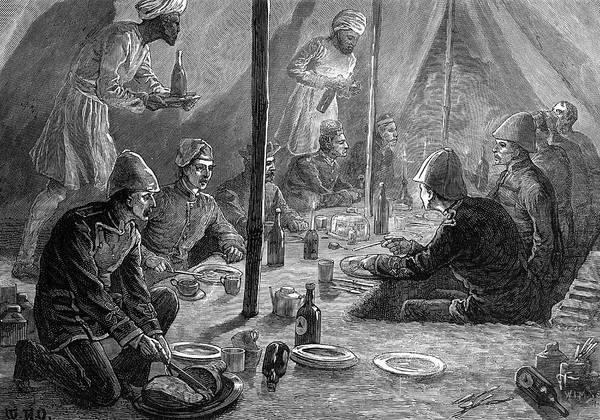 Mess Drawing - Interior Of The Mess Tent Of  The 4th by  Illustrated London News Ltd/Mar