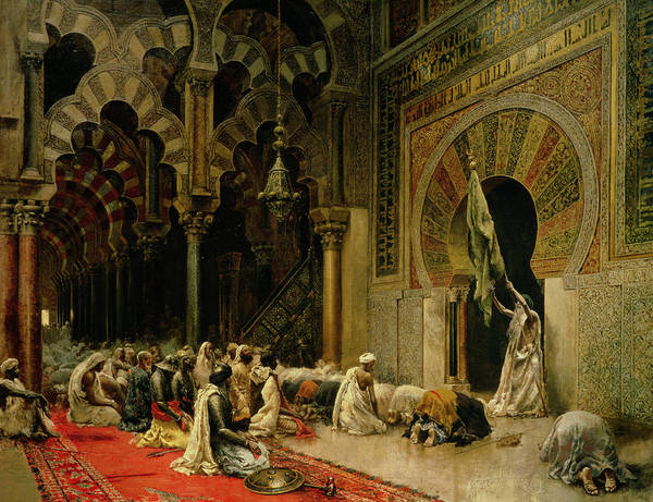 Kneeling Painting - Interior Of The Mosque At Cordoba by Edwin Lord Weeks