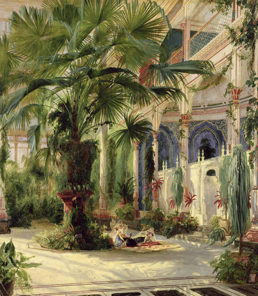 Shade Garden Wall Art - Painting - Interior Of The Palm House At Potsdam by Karl Blechen