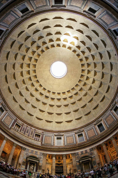 Oculus Wall Art - Photograph - Interior Of The Pantheon Temple In Rome by Guy Vanderelst