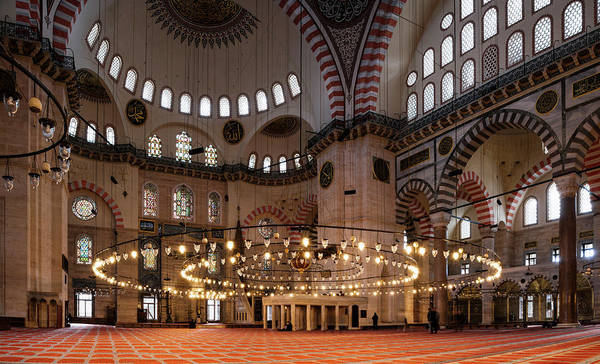 Suleymaniye Mosque Photograph - Interior Of The Suleymaniye Mosque by Panoramic Images