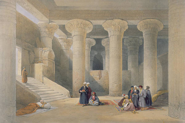 Arabian Drawing - Interior Of The Temple At Esna, Upper Egypt, From Egypt And Nubia, Engraved By Louis Haghe by David Roberts
