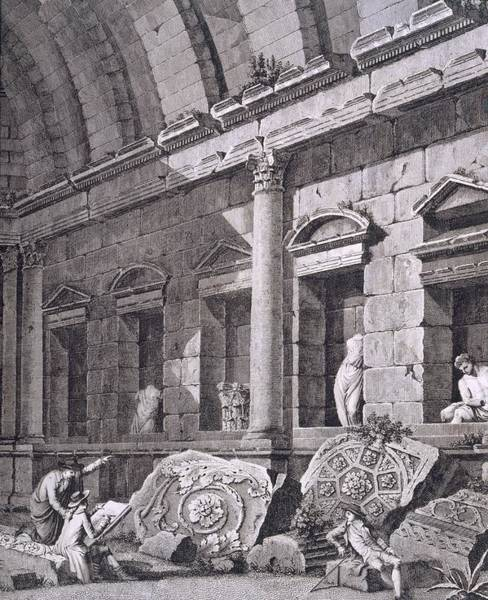 French Artist Drawing - Interior Of The Temple Of Diana, Nimes by French School
