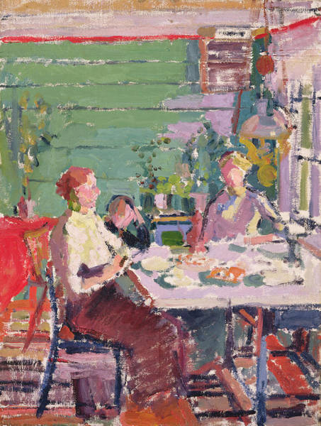 Camden Photograph - Interior Scene, Possibly In Norway, C.1912 Oil On Canvas by Harold Gilman
