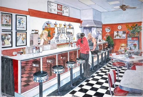 Waitress Wall Art - Painting - Interior Soda Fountain by Anthony Butera