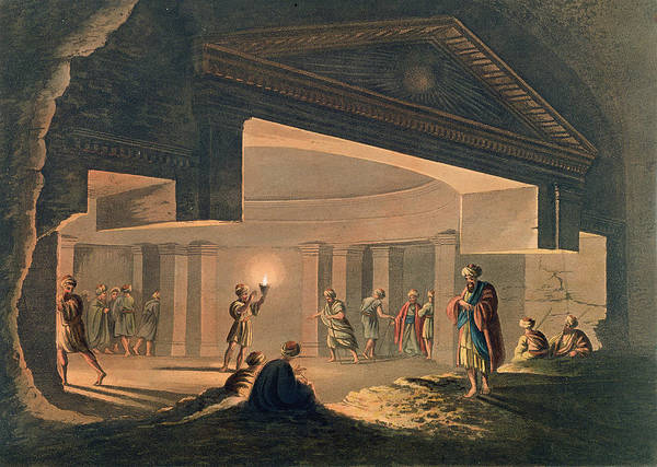 Egypt Drawing - Interior View Of The Catacombs by Luigi Mayer
