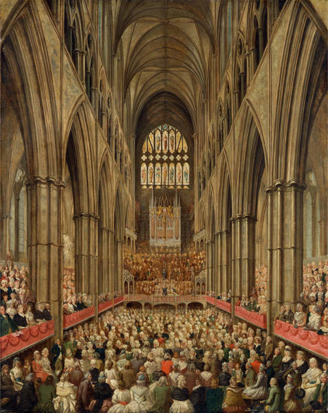 Wall Art - Painting - Interior View Of Westminster Abbey On The Commemoration by Litz Collection