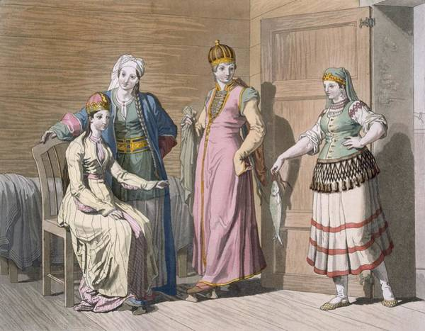 Exotic Drawing - Interior With Circassian Women by Italian School
