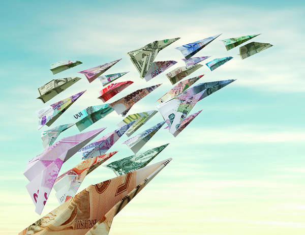 Wall Art - Photograph - International Currency Flying As Money by Ikon Ikon Images