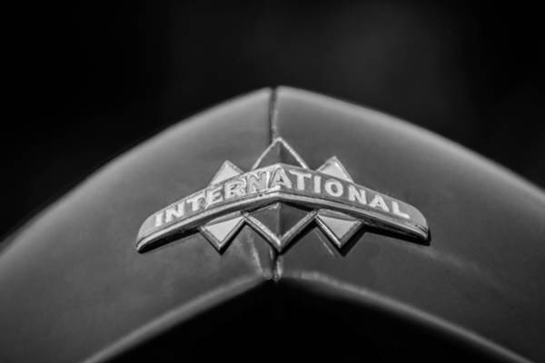 Photograph - International Grille Emblem -0741bw by Jill Reger