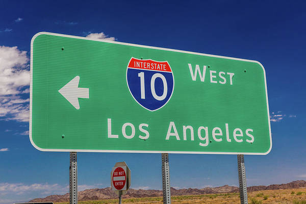 Blythe Photograph - Interstate 10 Highway Signs by Panoramic Images