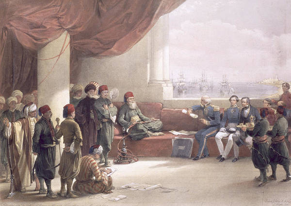 Columns Drawing - Interview With The Viceroy Of Egypt by David Roberts