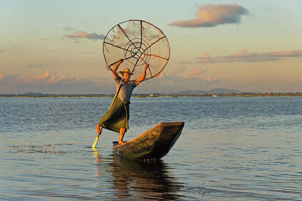 Real People Photograph - Intha Fisherman Leg Row Boat And Cast by Keren Su