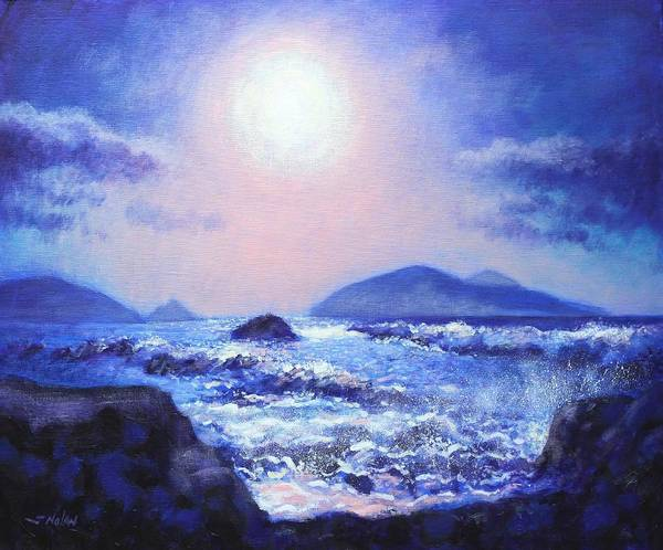 Homage Wall Art - Painting - Into The Light The Blasket Islands  by John  Nolan