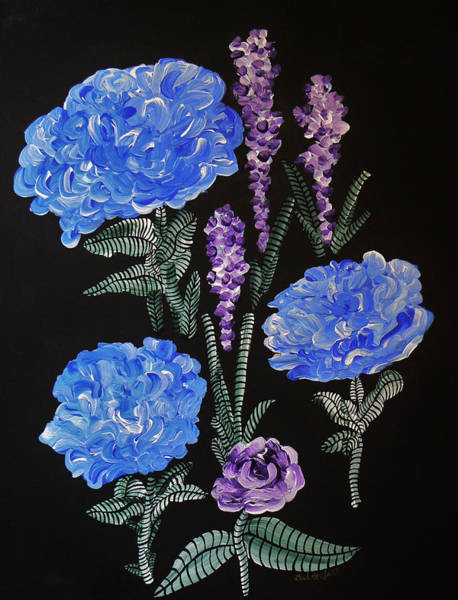 Painting - Into The Night Garden Blue Hydrangea by Barbara St Jean