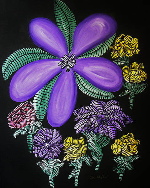 Painting - Into The Night Garden Purple Swirl Wildflower by Barbara St Jean