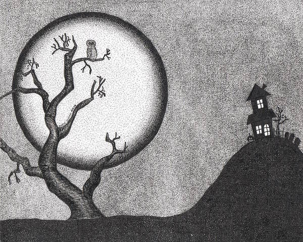 Haunted House Drawing - Into The Night by Marie Wern