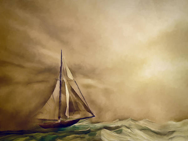 Sailors Digital Art - Into The Storm by Lonnie Christopher