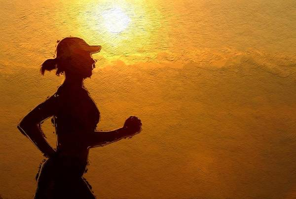 Jogging Painting - Into The Sunset by Steve K