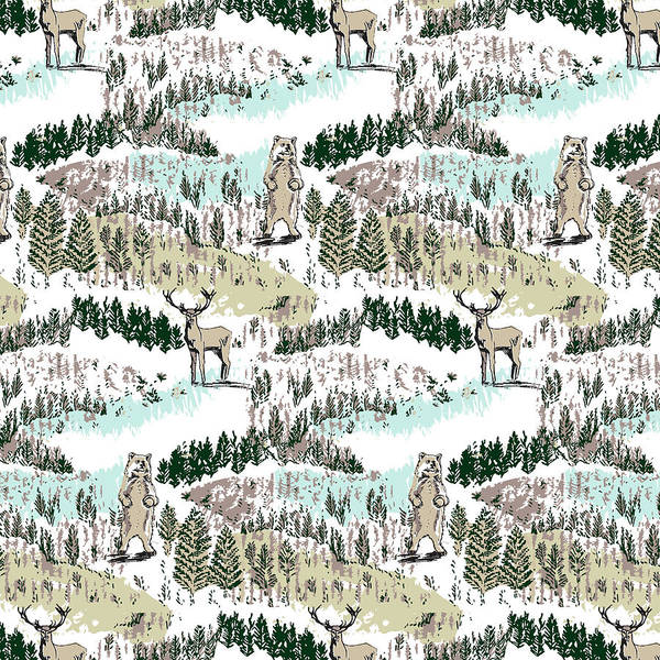 Wall Art - Painting - Into The Wild Woodland Animals Vector Stag And Bear In Forest by MGL Meiklejohn Graphics Licensing