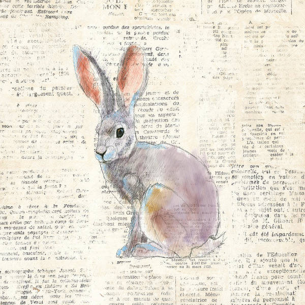 Wild Rabbit Painting - Into The Woods I No Border by Emily Adams