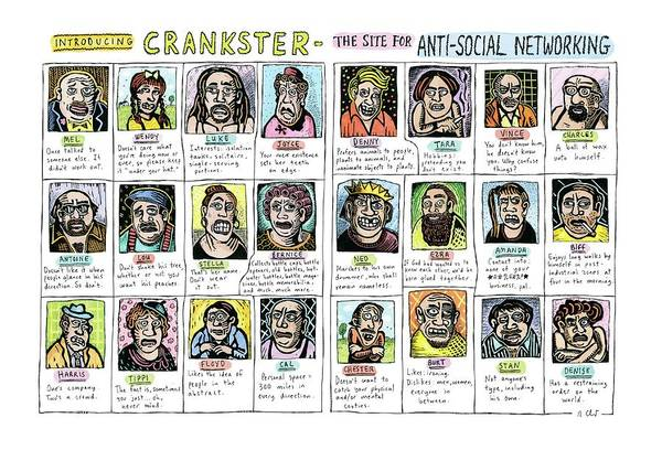November 2nd Drawing - Introducing Crankster - The Site For Anti-social by Roz Chast
