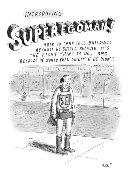 Justice Drawing - Introducing Superegoman! by Roz Chast