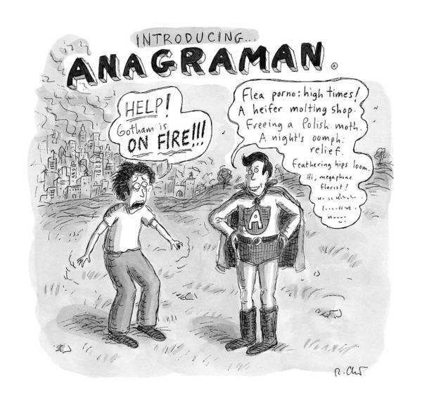 Superhero Drawing - Introducing...anagraman A Man Screams by Roz Chast