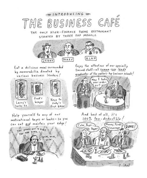 Taxes Drawing - Introducing The Business Cafe The Only by Roz Chast