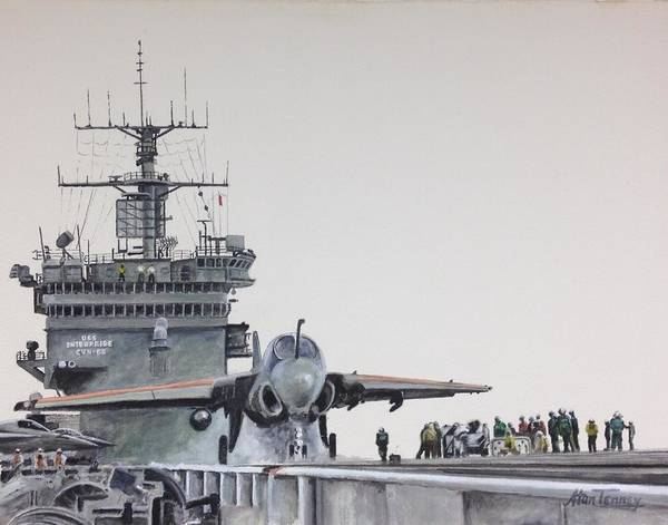 Flight Deck Painting - Intruder by Stan Tenney