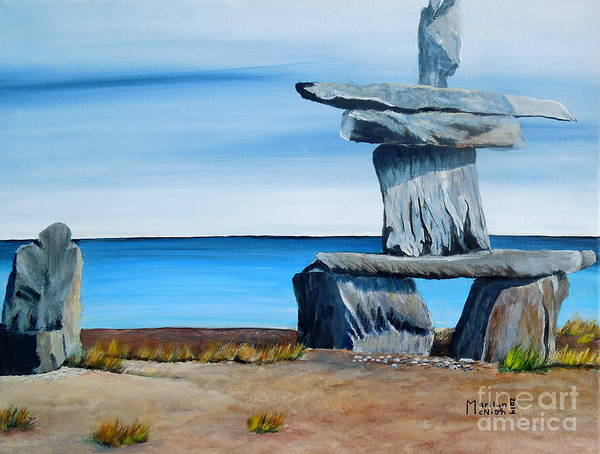 Painting - Inukshuk 2 by Marilyn  McNish