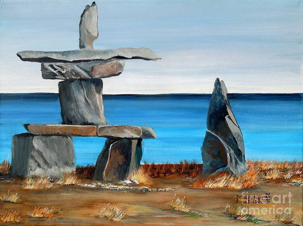 Painting - Inukshuk 3 by Marilyn  McNish
