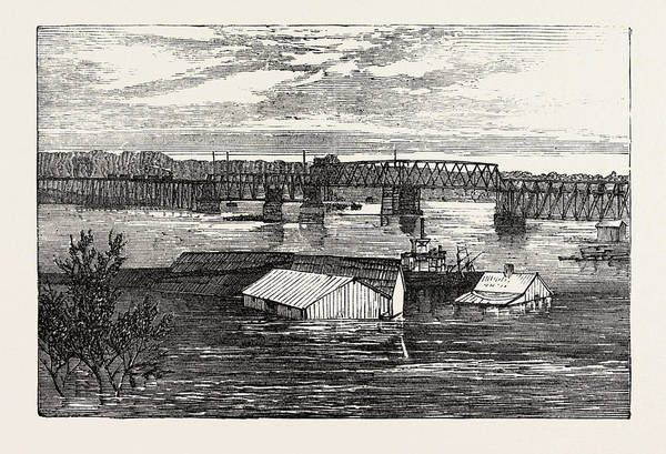 Early American History Drawing - Inundations In The United States Of America Railroad Bridge by American School