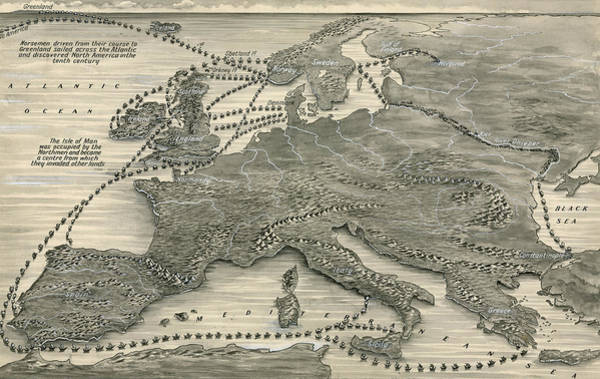 Mapping Drawing - Invasions By The Norsemen by Leslie Ashwell Wood