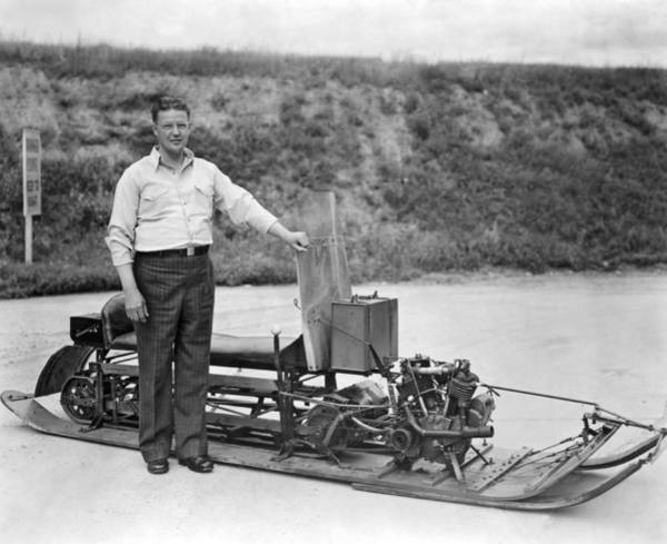 Wintry Photograph - Inventor Of First Snowmobile by Underwood Archives