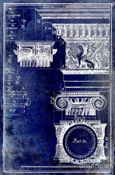 Wall Art - Drawing - Ionic Capitol Blue by Jon Neidert