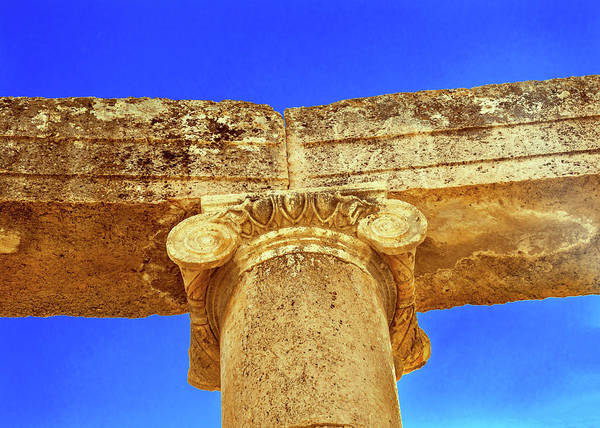 Jerash Photograph - Ionic Columns, Oval Plaza, Roman City by William Perry