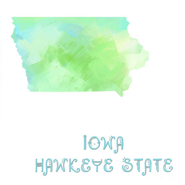 Digital Art - Iowa - Hawkeye State - Map - State Phrase - Geology by Andee Design