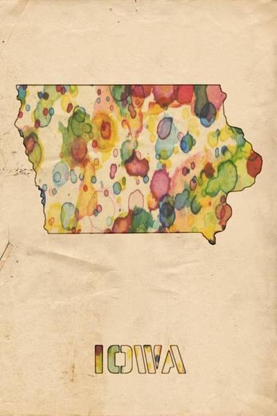 Wall Art - Painting - Iowa Map Vintage Watercolor by Florian Rodarte