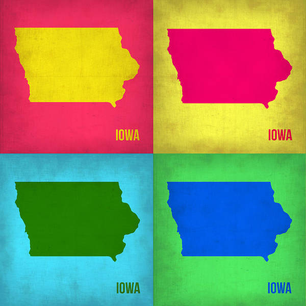 Wall Art - Painting - Iowa Pop Art Map 1 by Naxart Studio