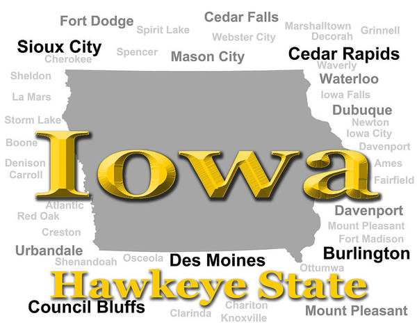 Red Bluff Photograph - Iowa State Pride Map Silhouette  by Keith Webber Jr
