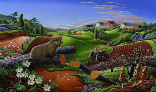 Groundhog Painting - iPhone Case - Farm Folk Art - Groundhog - Woodchuck - Rural Americana  by Walt Curlee